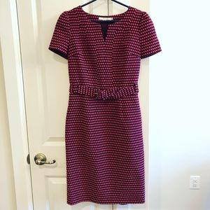 Boden Burgundy Pink Polka Dot Dress EUC